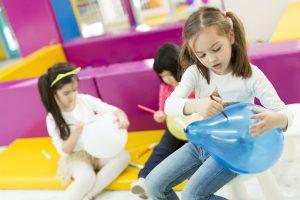 Multiracial liitle girls at playroom